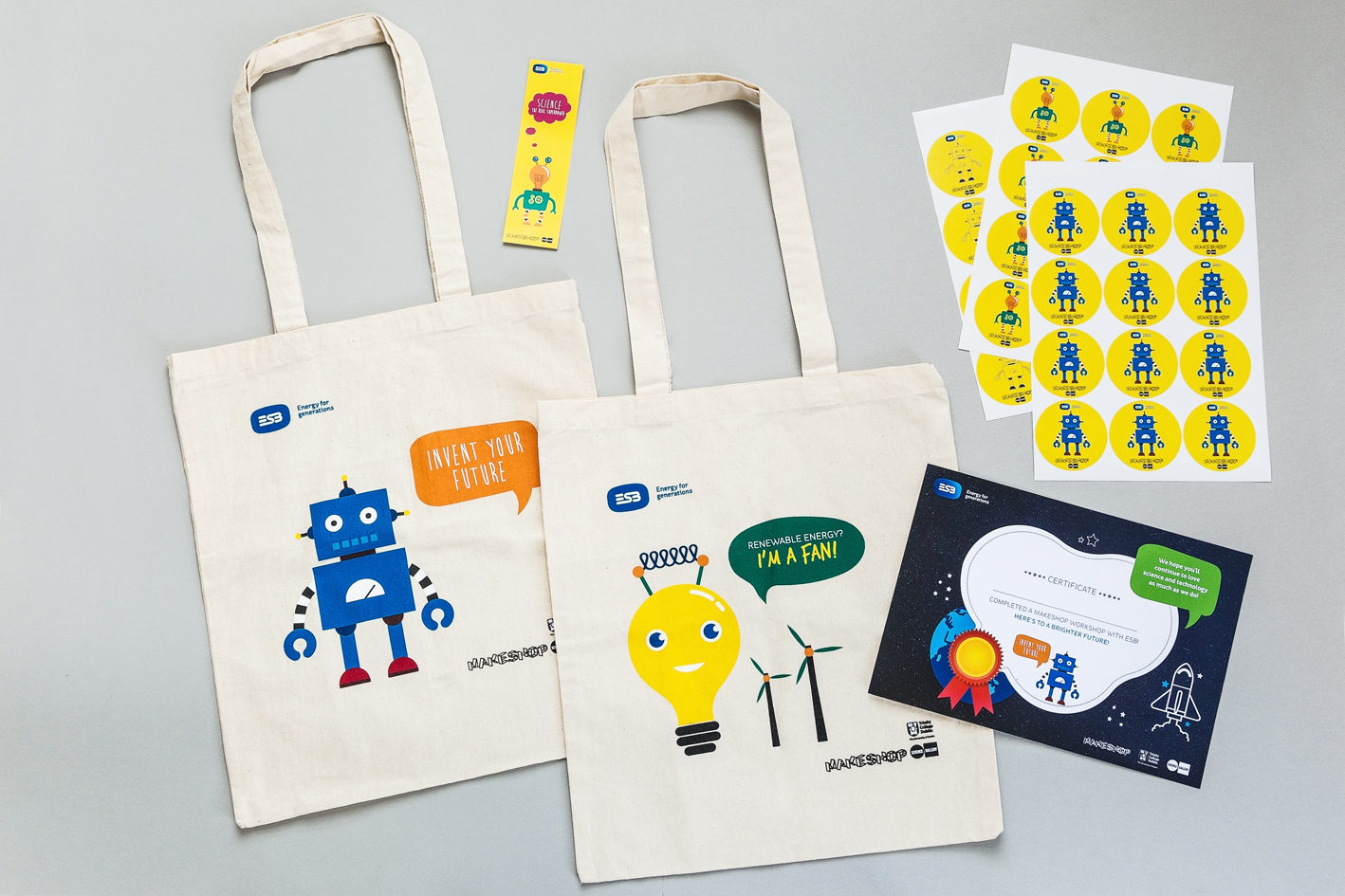 Picture of bags, stickers, bookmarks